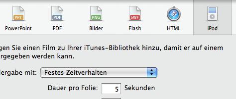 Keynote auf iPod exportieren