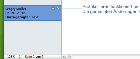 Apple Pages Protokollierung