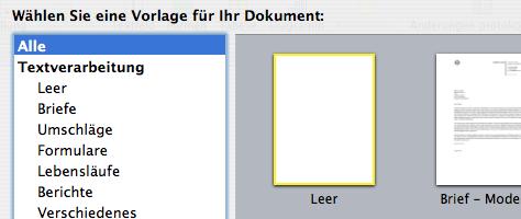 Apple Pages Start Vorlagen