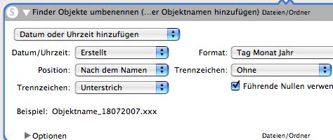 Automator Backup | Finder Objekte umbenennen