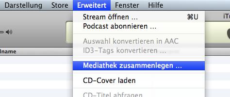 iTunes Mediathek zusammenlegen