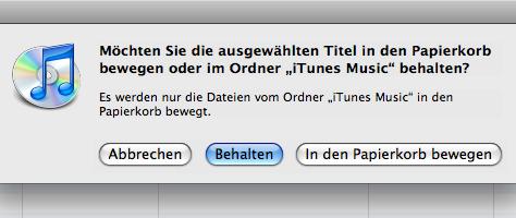 iTunes Löschhinweis