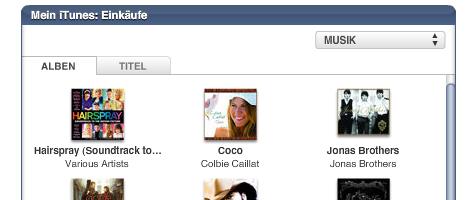iTunes Widgets Ausschnitt