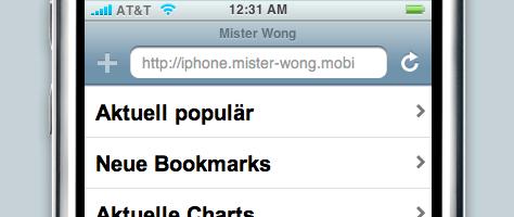 Mister Wong für das iPhone | Bereiche