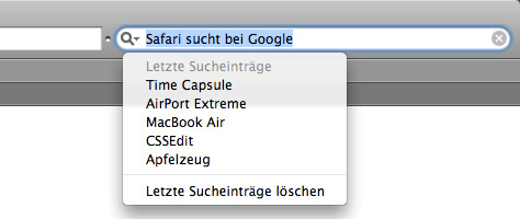 Safari Sucheinträge