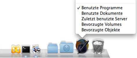 Stacks in Mac OS X: Zuletzt benutzte Anwendungen