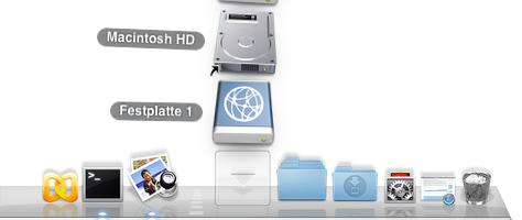 Stacks in Mac OS X: Ein Docksymbol, ein Klick, mehrere Laufwerke