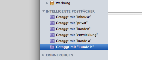 In Apple Mail separieren die intelligenten Postfächer nach Tags