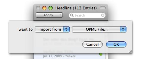 Im- und Export nur als OPML-Datei