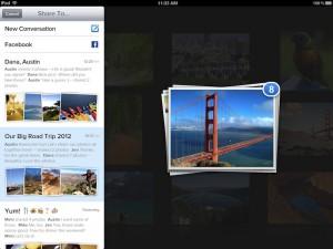 Einfach und schnell lassen sich Bilder in entsprechende Konversationen befördern.